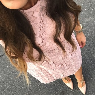blush pink lace dress