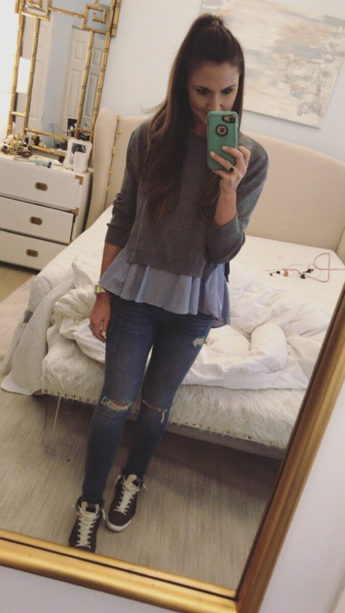 two in one sweater and swing top