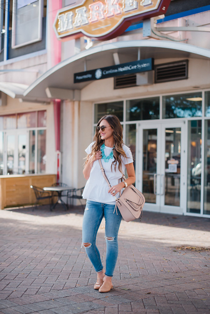 This white peplum top is perfect for Spring Transition