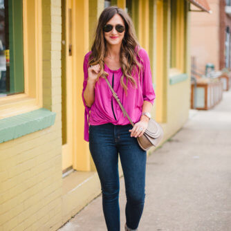 Free People top and Madewell jeans for a casual Spring outfit