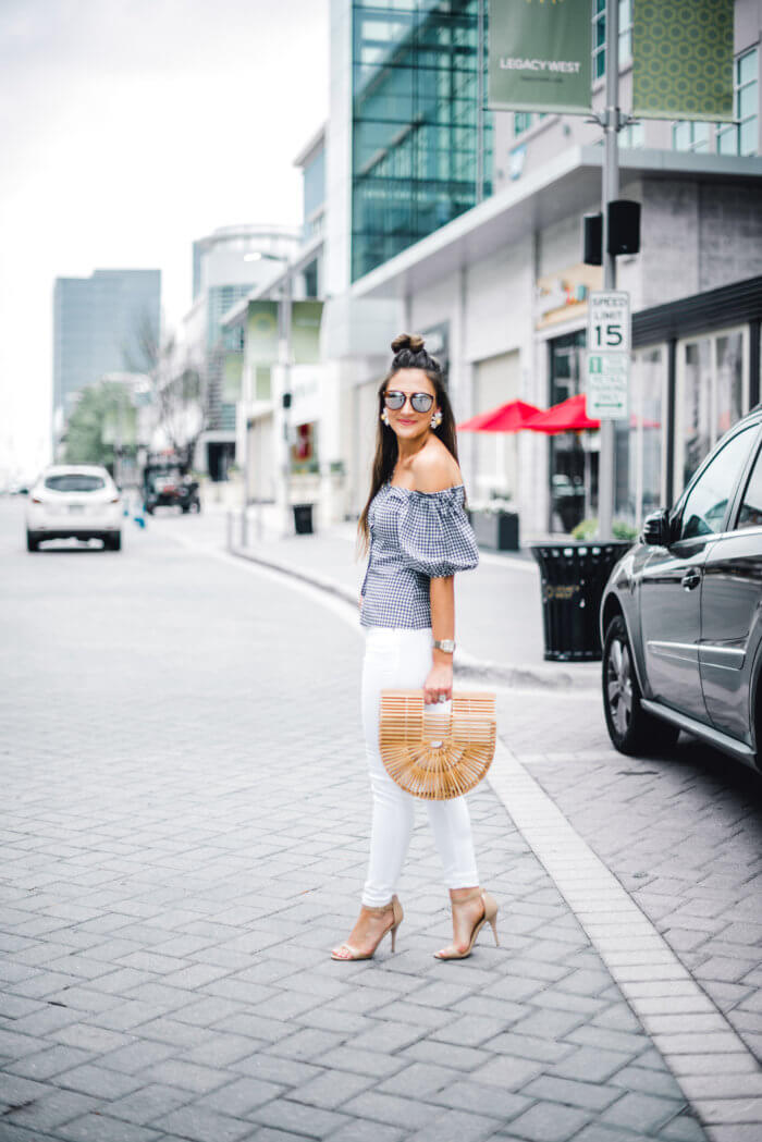 Gingham off the shoulder top with white jeans and statement earrings