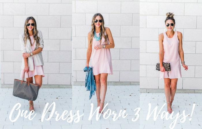 Pink ruffled racerback dress styled 3 ways