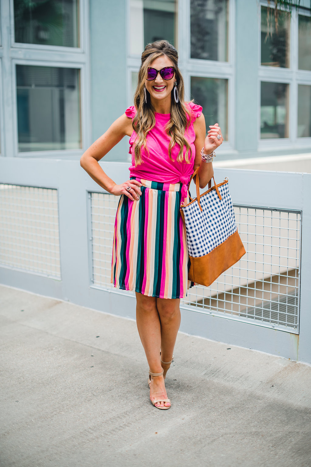 racerback tank with stripe skirt and gingham bag - Gibson X Hi Sugarplum! at NORDSTROM featured by Texas fashion blogger, Style Your Senses