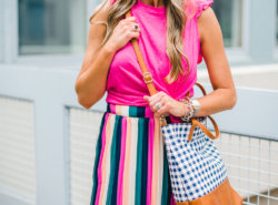 racerback tank with stripe skirt and gingham bag - Gibson X Hi Sugarplum! at NORDSTROM featured by Texas fashion blogger, Style Your Senses - Gibson X Hi Sugarplum! at NORDSTROM featured by Texas fashion blogger, Style Your Senses