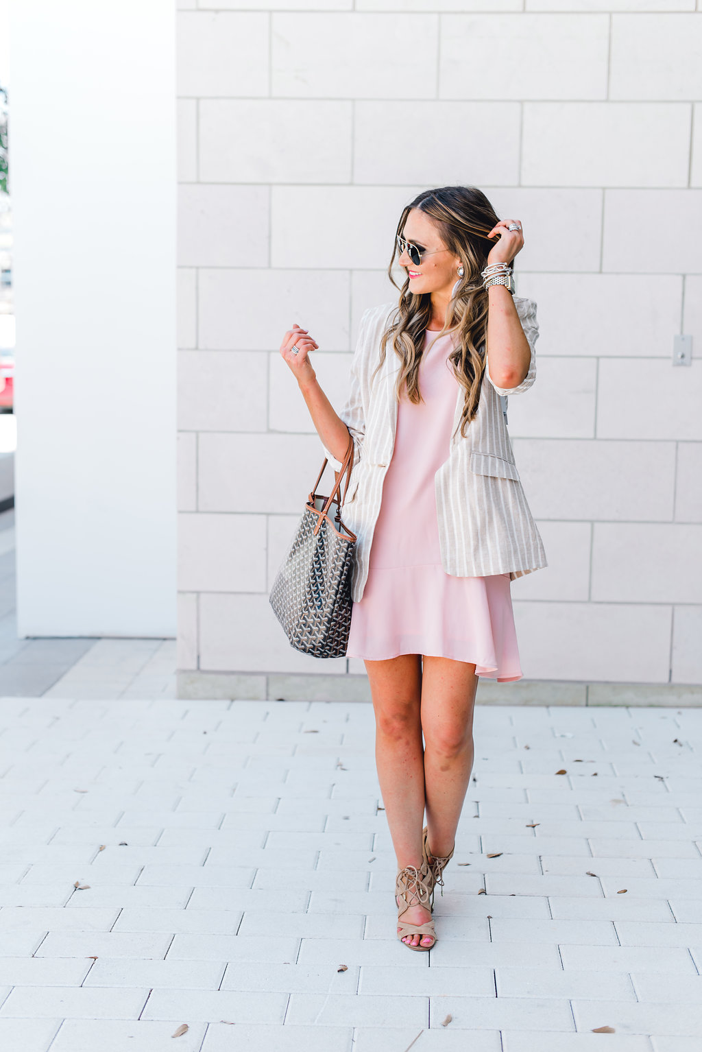 Pink ruffled racerback dress styled 3 ways - Pink Ruffle Dress Worn Three Ways! featured by popular Texas fashion blogger, Style Your Senses