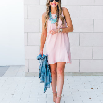 Pink ruffled racerback dress styled 3 ways