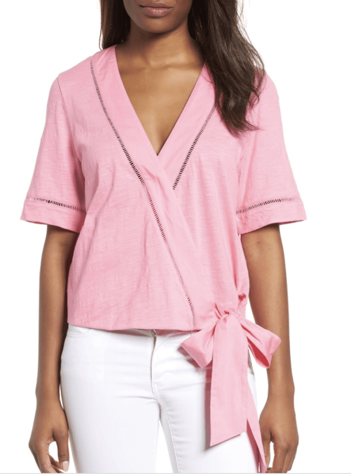 pink wrap front top