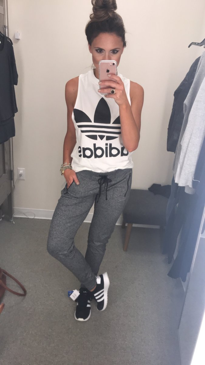 Nordstrom Anniversary Sale featured by popular Texas fashion blogger, Style Your Senses | Adidas Logo Tank + Zella Joggers