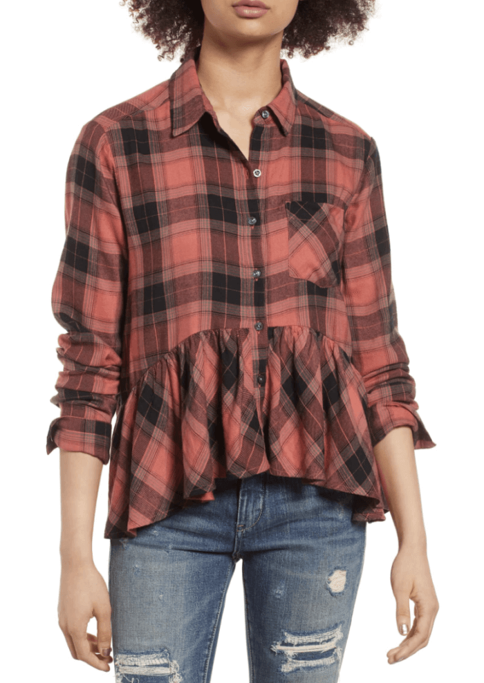flannel peplum top