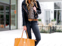 SHOP STYLE YOUR SENSES | LEOPARD TOP WITH BLACK JEANS AND MCM BAG