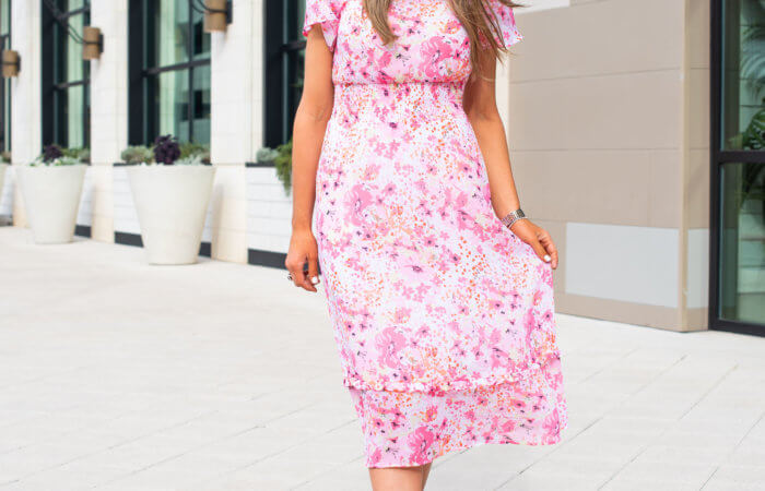Feminine Floral Midi Dress from Marks and Spencer