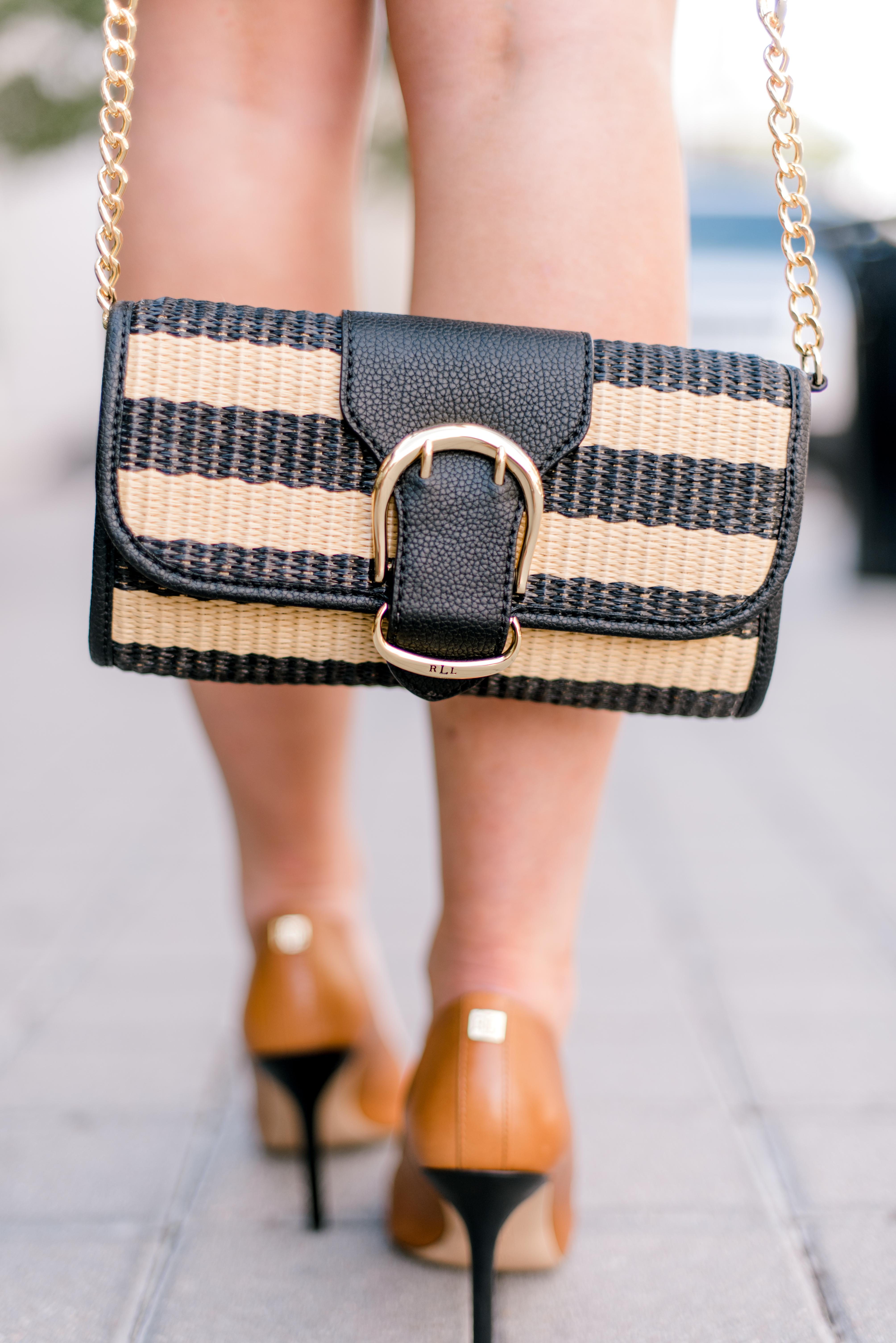 black sleeveless Ralph Lauren woven clutch | Style Your Senses