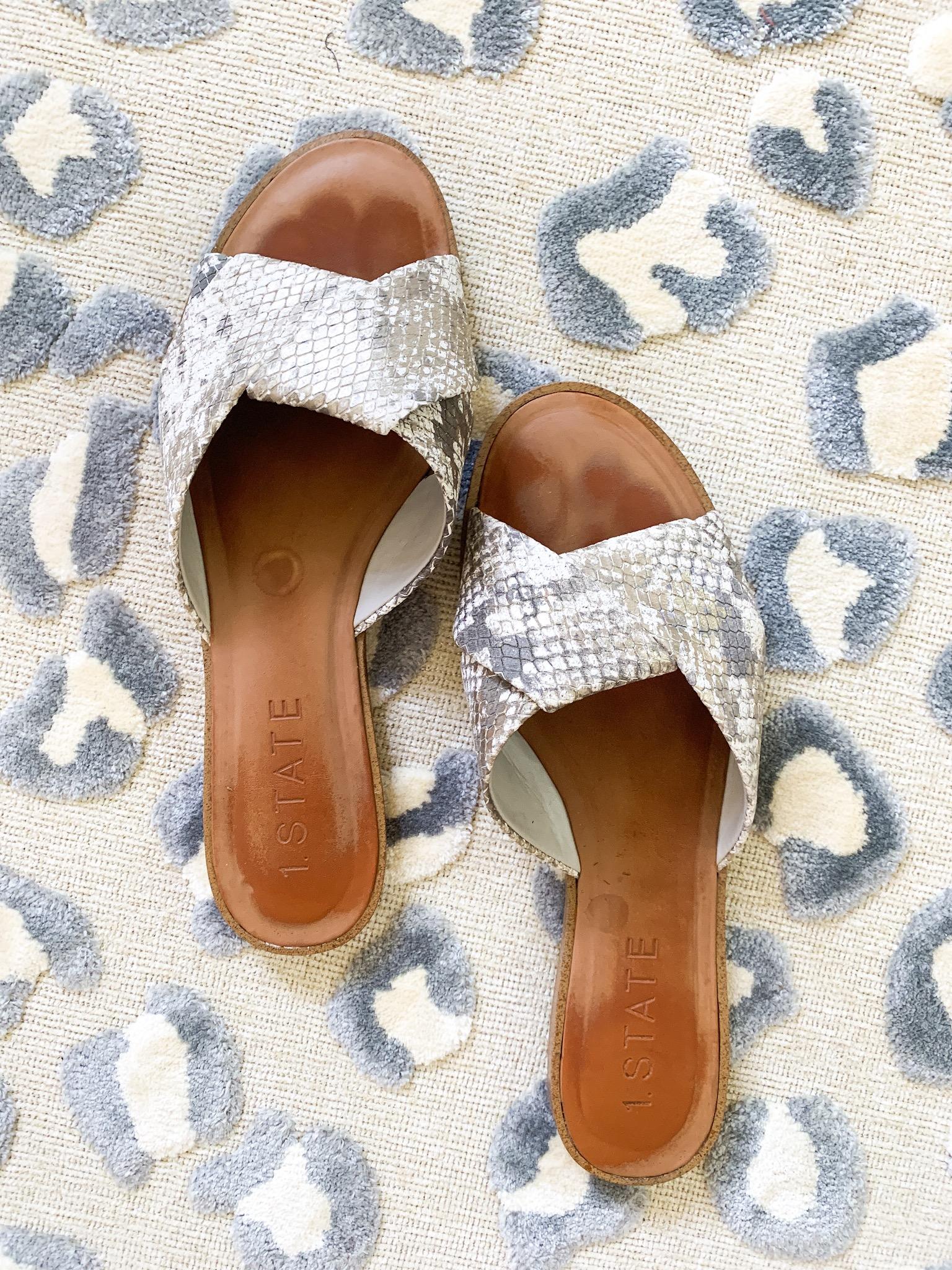 1 state snake skin sandals