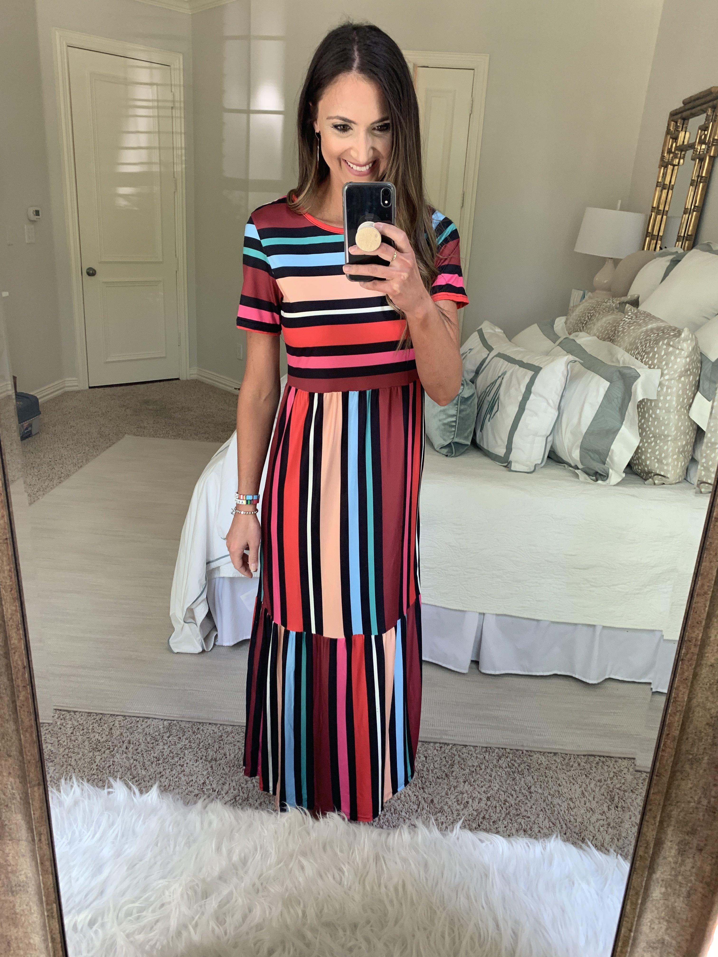Stripe midi dress from amazon | Amazon Fashion Haul | Style Your Senses