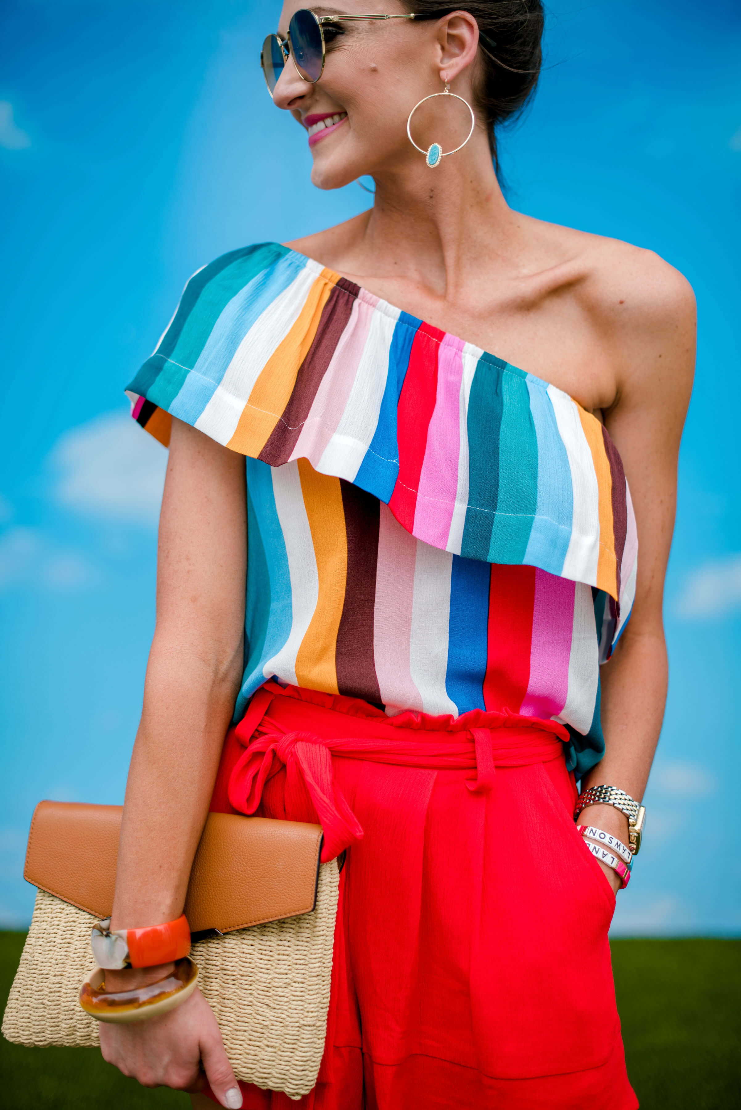 striped one shoulder top + red Shorts | Nordstrom | Style Your Senses