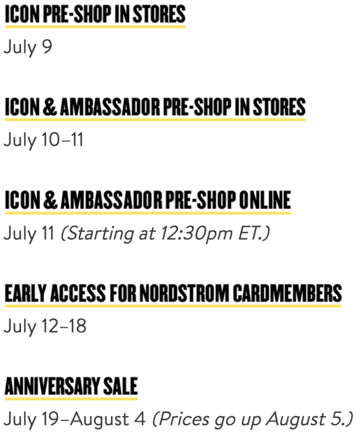 Nordstrom Anniversary Sale Dates