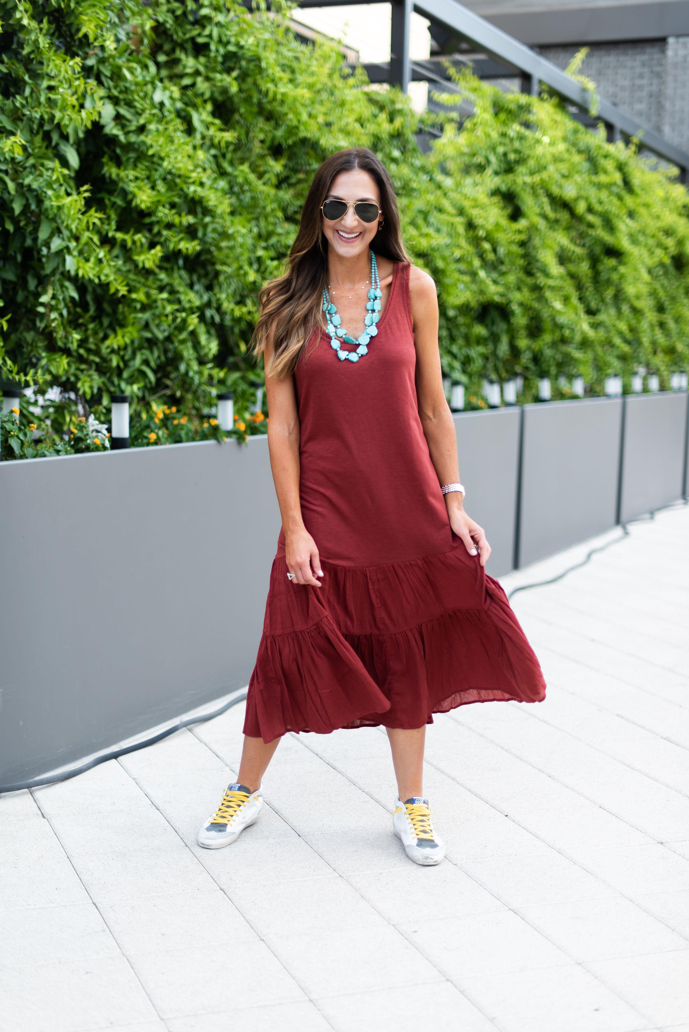 Color Trend Rust | Burnt Orange | Tiered dress | golden goose | Style Your Senses