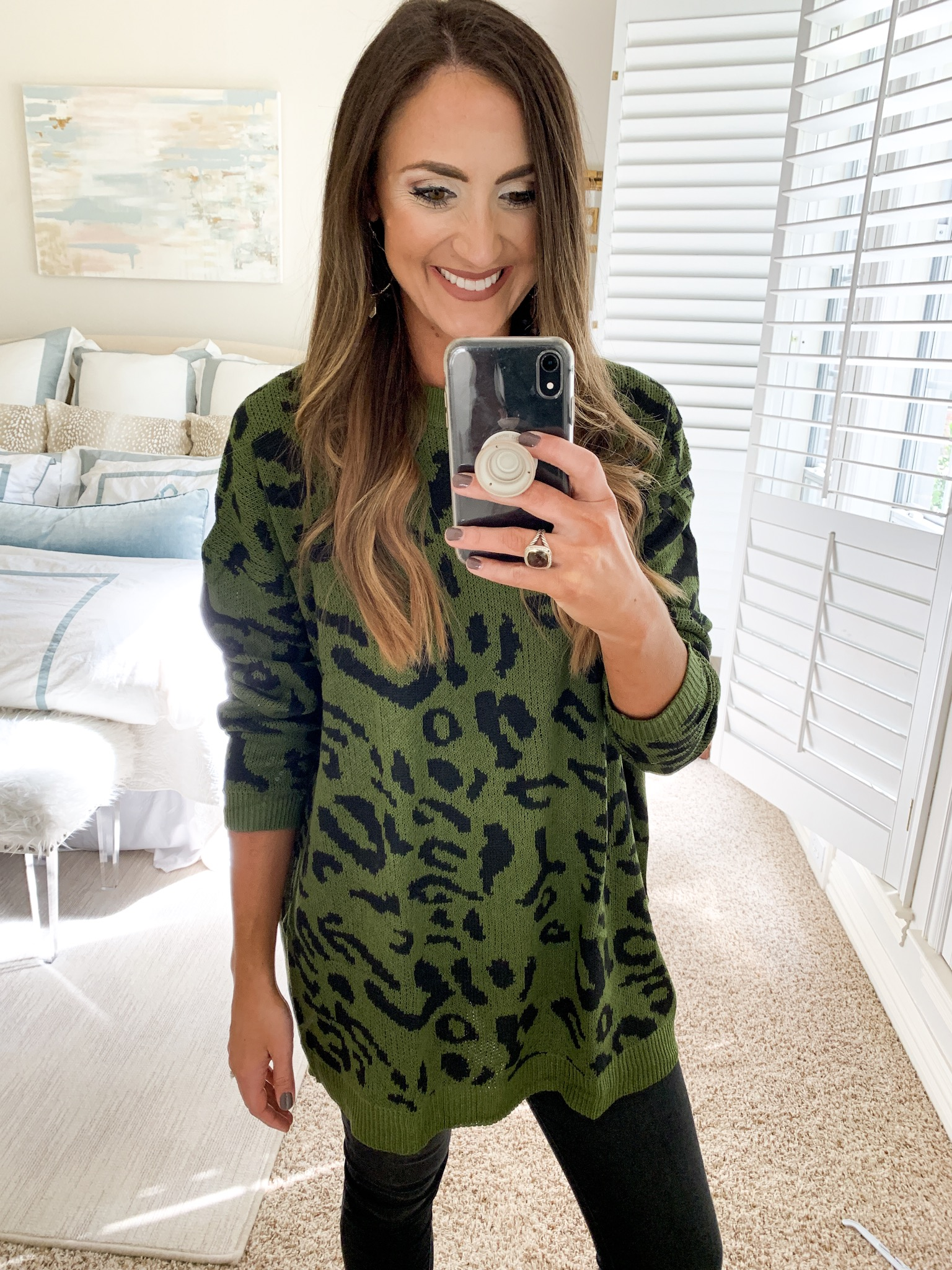 olive green leopard sweater| amazon fashion haul for Fall | Style your senses