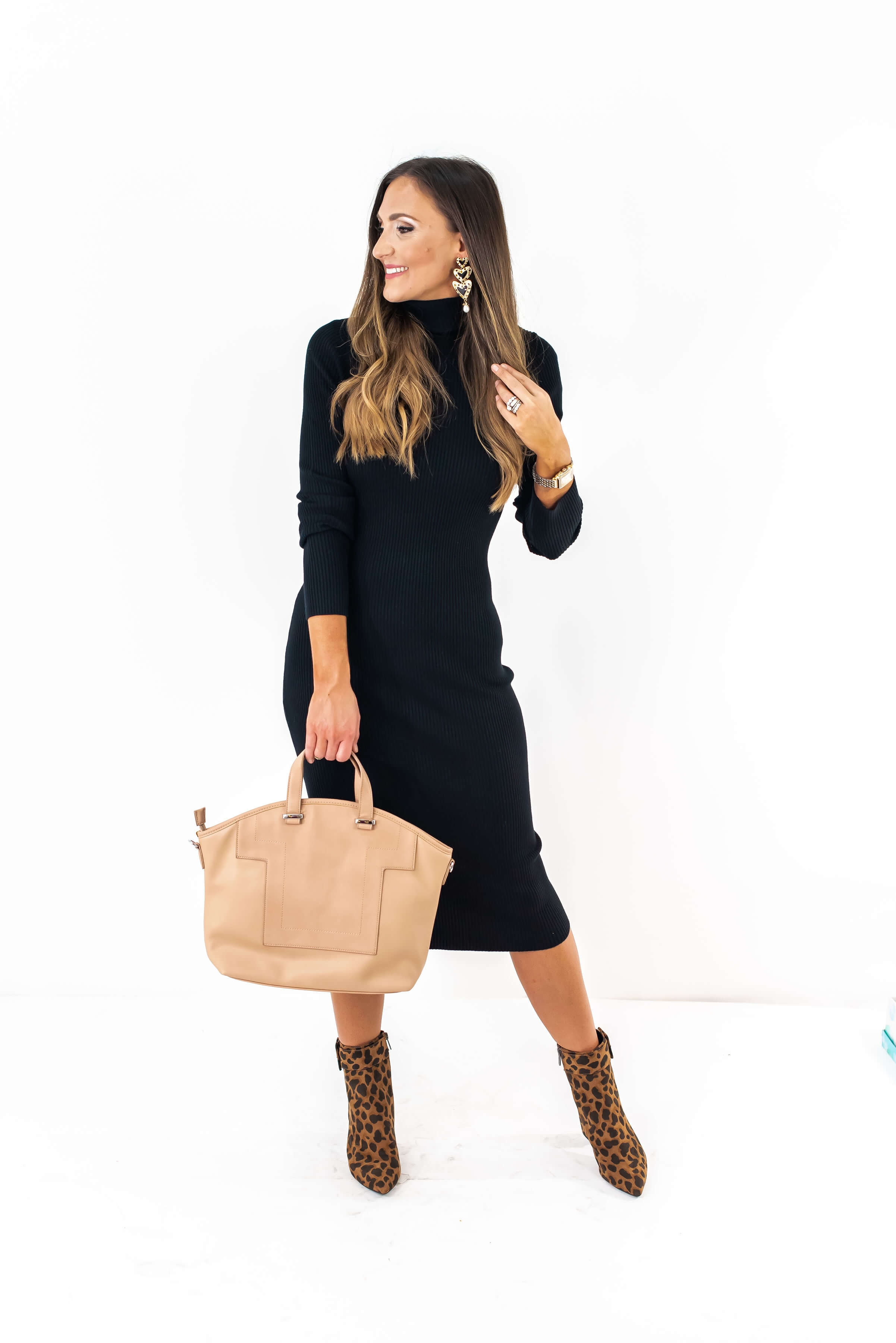 How to style Leopard Booties | Black Sweater Dress | | Last Call | Style Your Senses