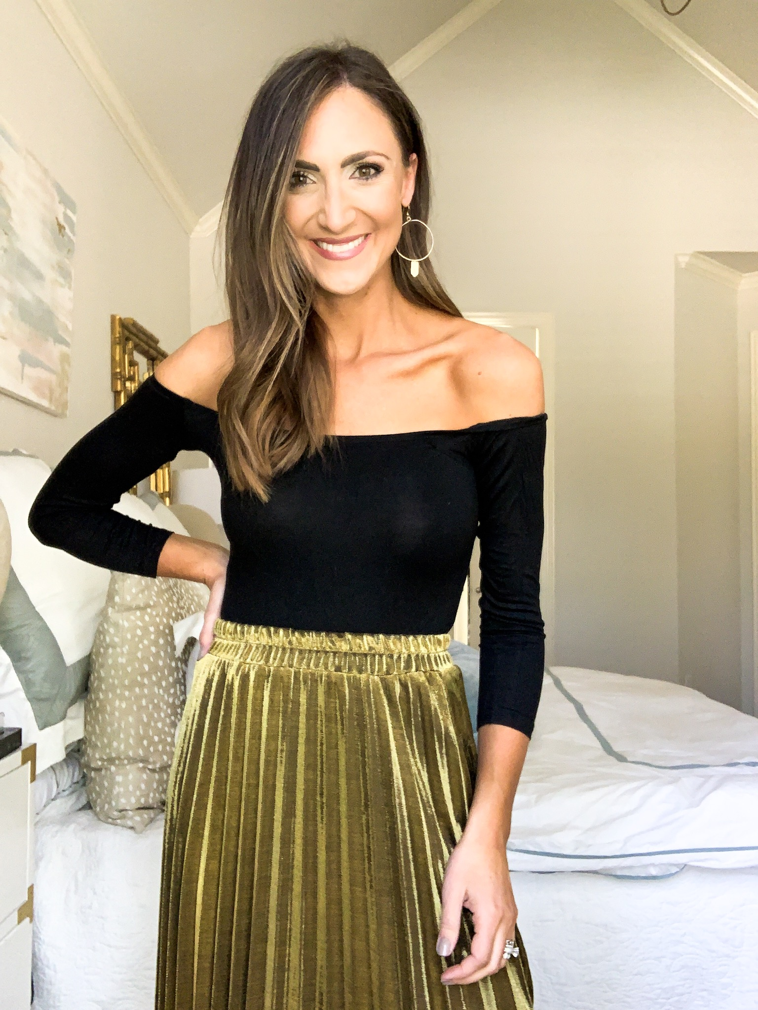 black bodysuit and gold pleated midi skirt, style your senses amazon fashion haul