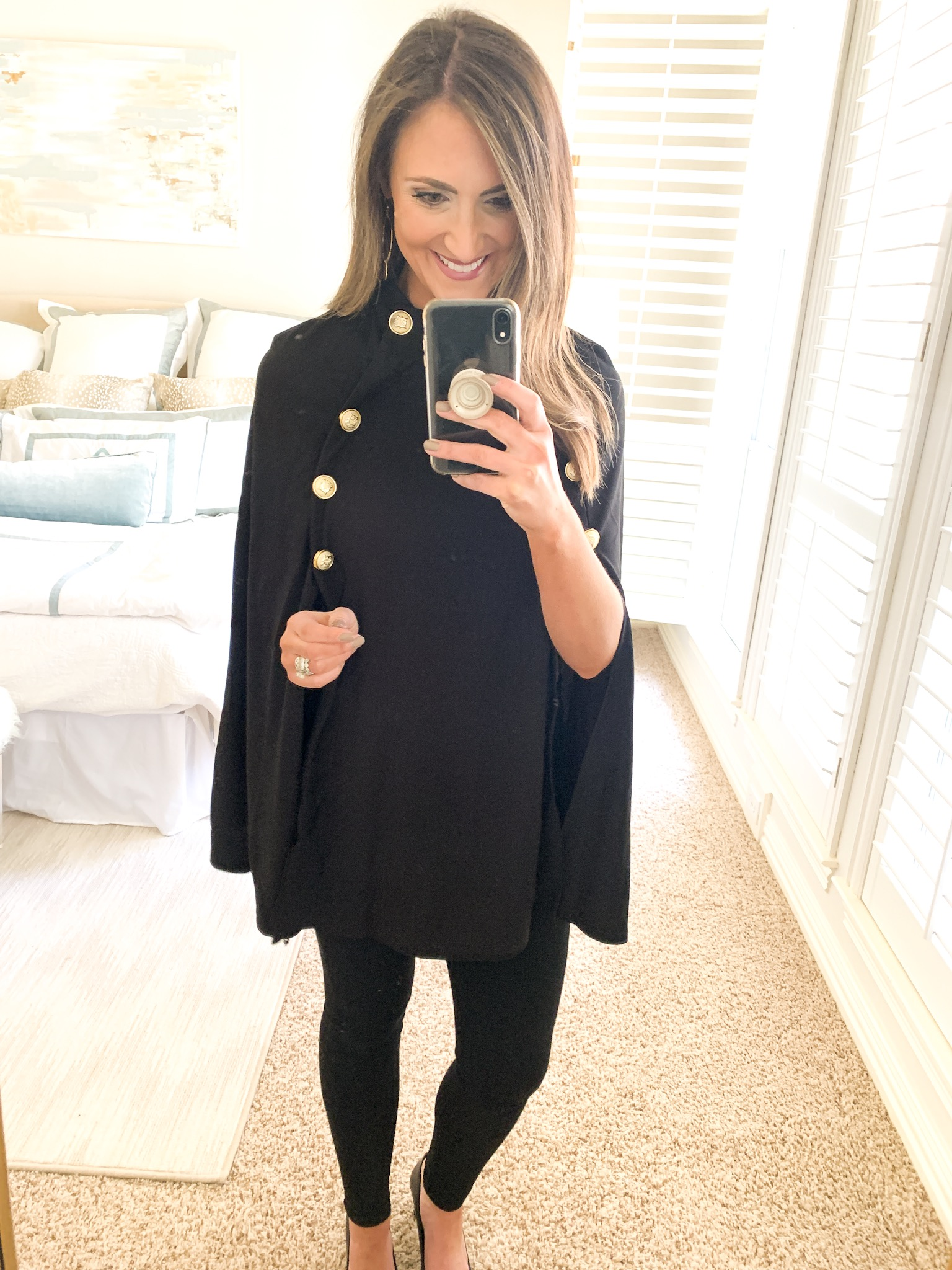 black cape with gold buttons, amazon fashion haul. style your senses