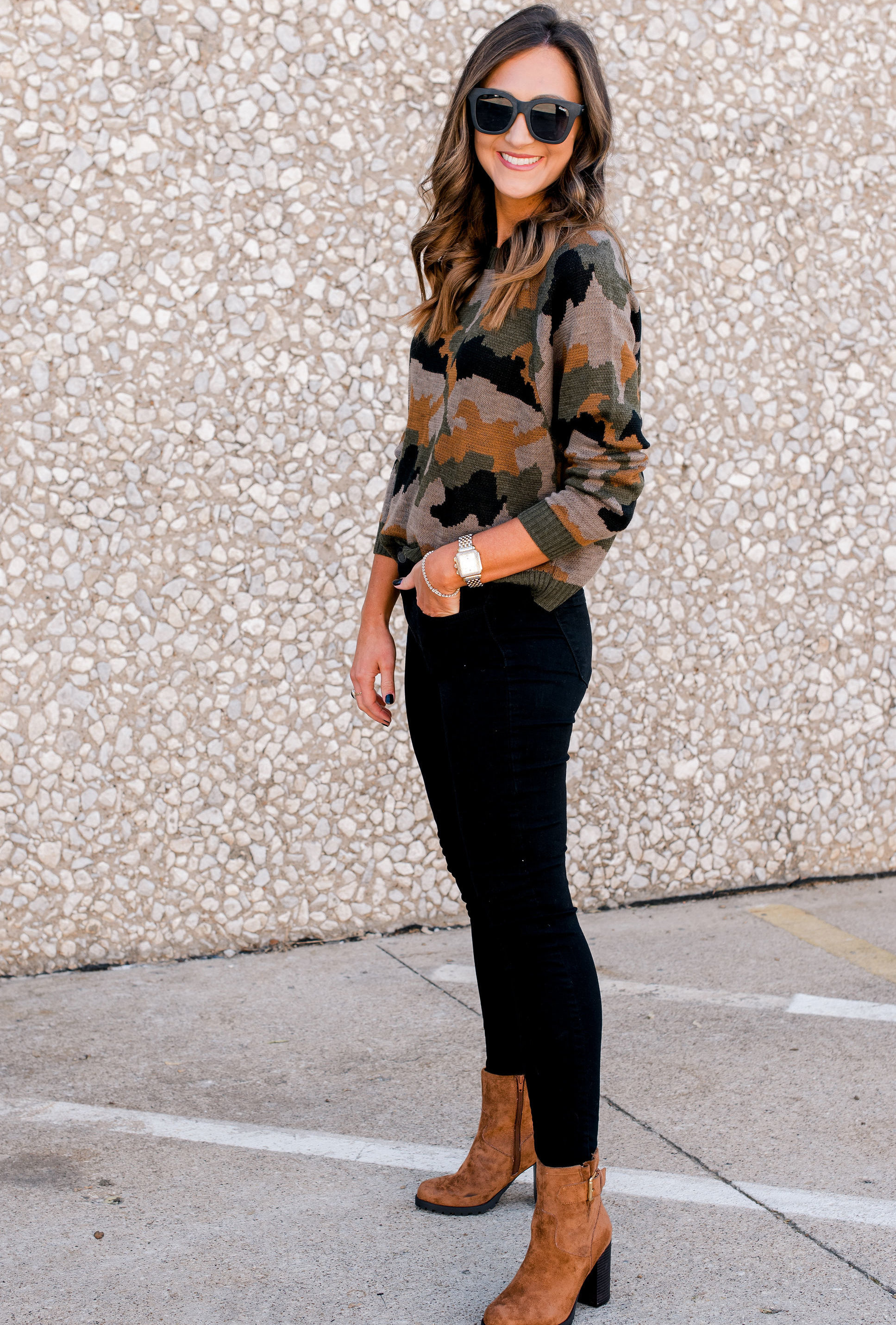 fall sweaters, fall outfit idea, thanksgiving outfit idea, style your senses, camo sweater