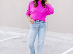 mom jeans, blank nyc jeans, bright pink sweater, fall style, style your senses