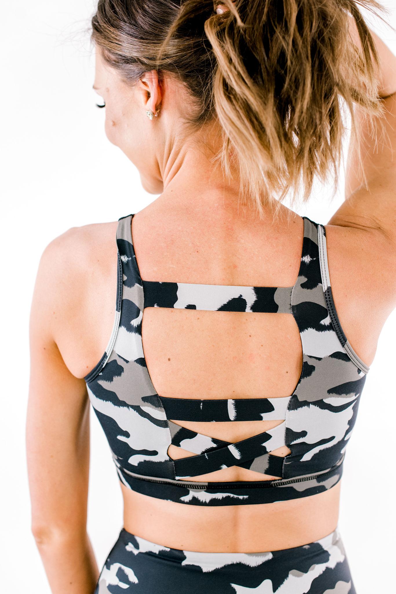 camo sports bra, activewear for women, athleisure, shop style your senses