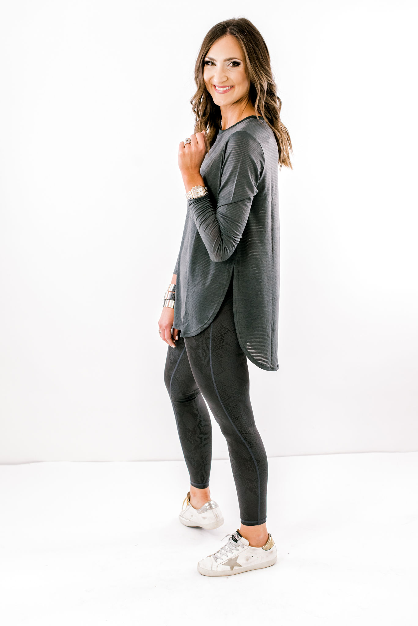 athleisure top, top to wear with leggings, shop style your senses, lululemon top, golden goose sneakers