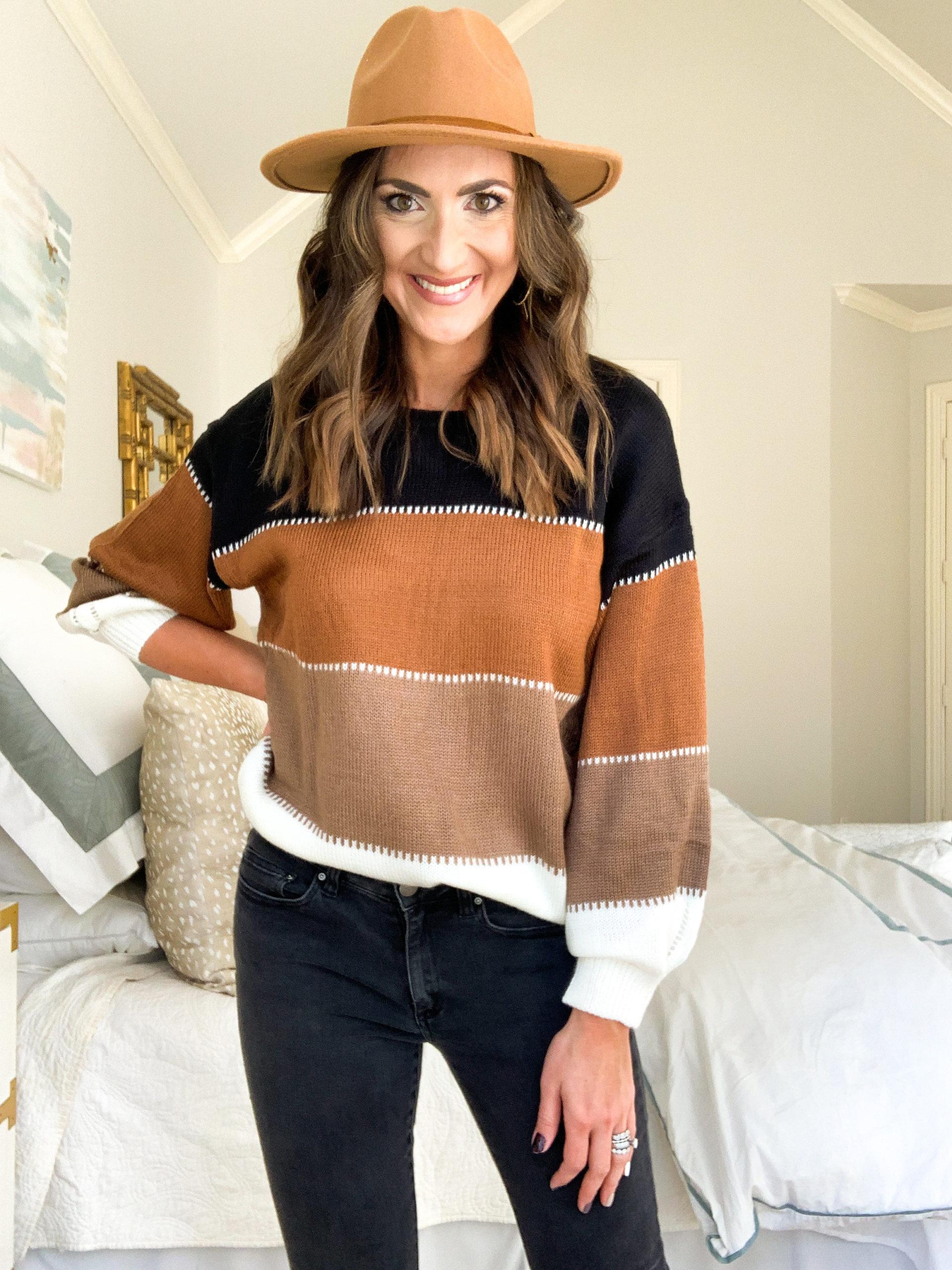 amazon sweater, amazon colorblock sweater, amazon fashion haul, style your senses, mallory fitzsimmons