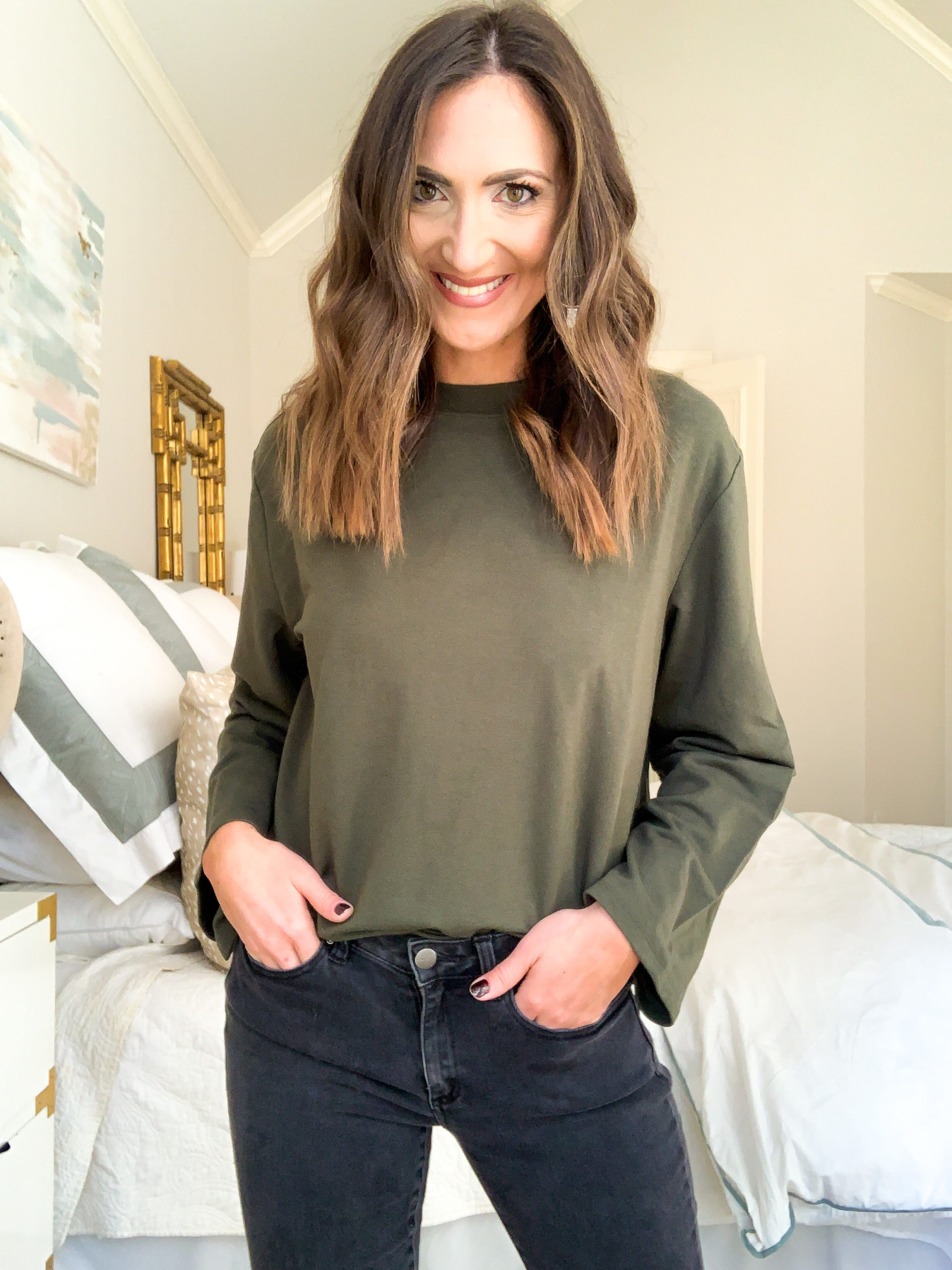 olive green pullover, amazon fashion haul, style your senses, mallory fitzsimmons