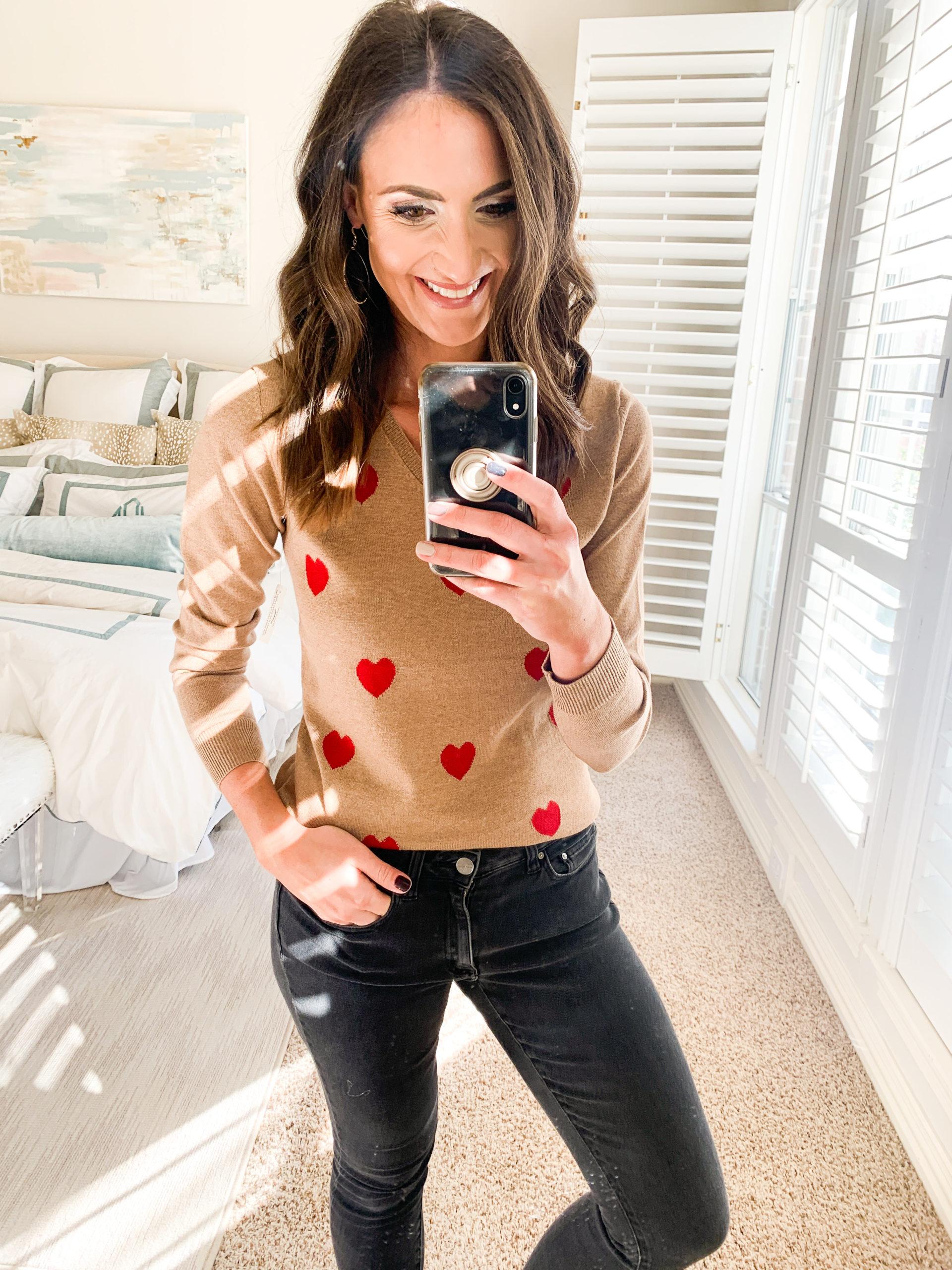 amazon sweater, heart sweater, amazon fashion haul, style your senses, mallory fitzsimmons