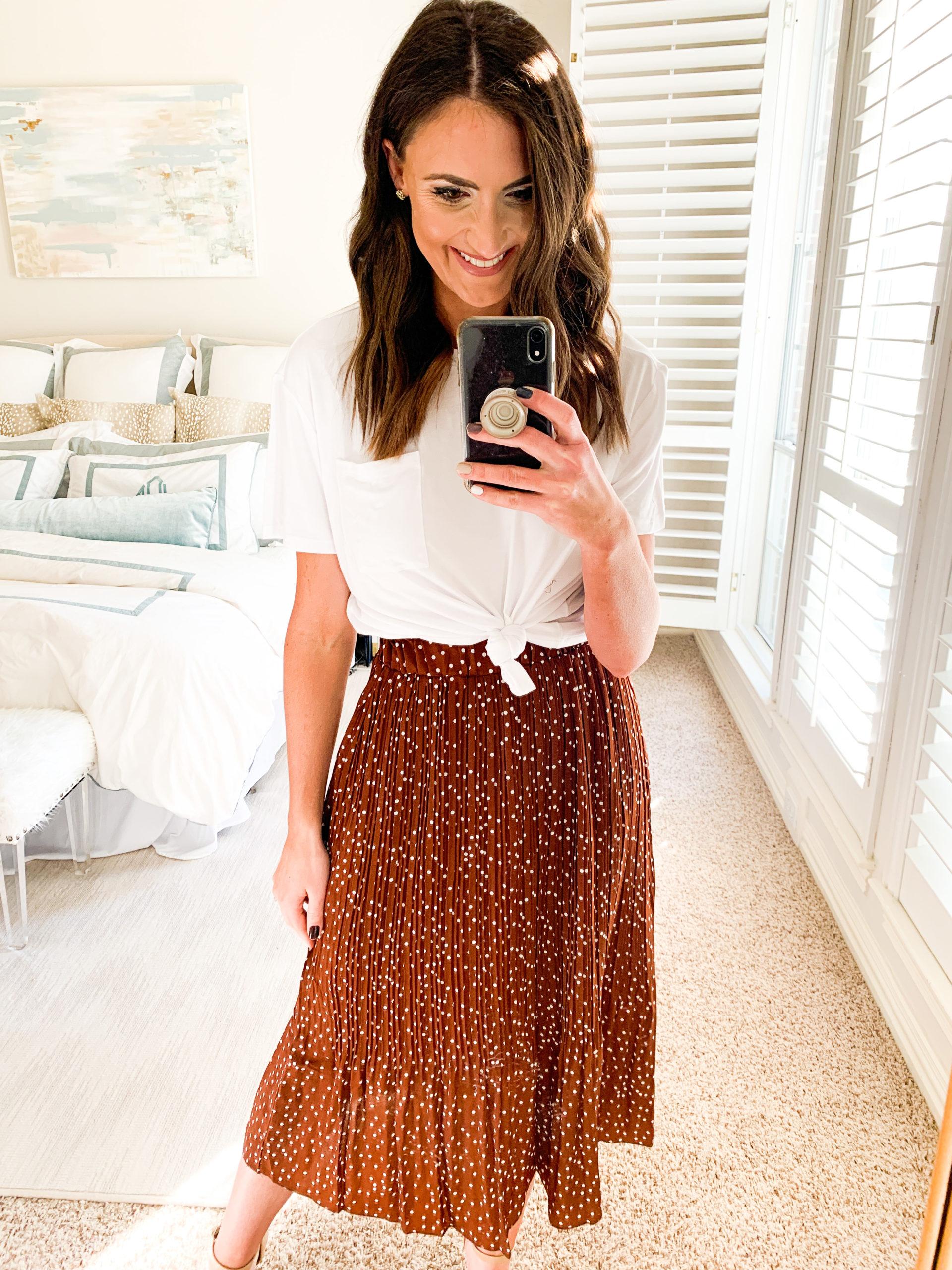 polka dot skirt, amazon fashion haul, style your senses, mallory fitzsimmons