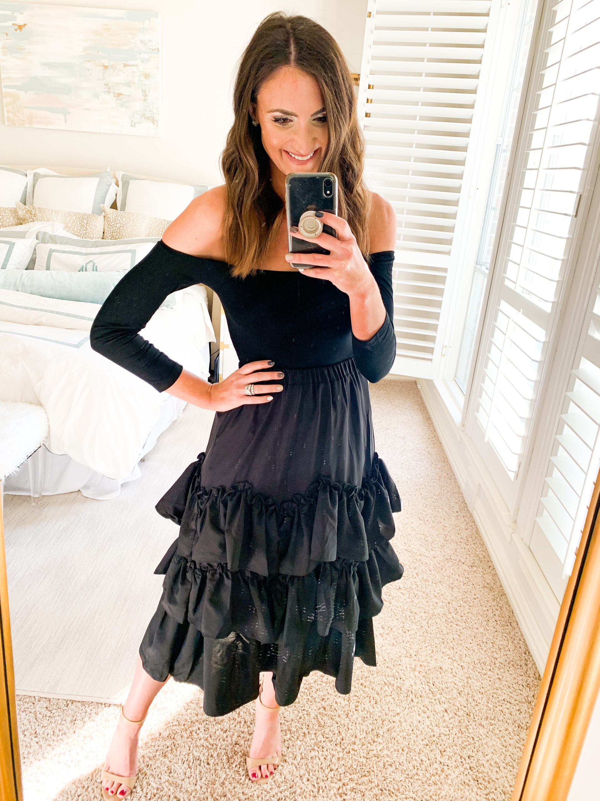tiered ruffle skirt, amazon fashion haul, style your senses, mallory fitzsimmons