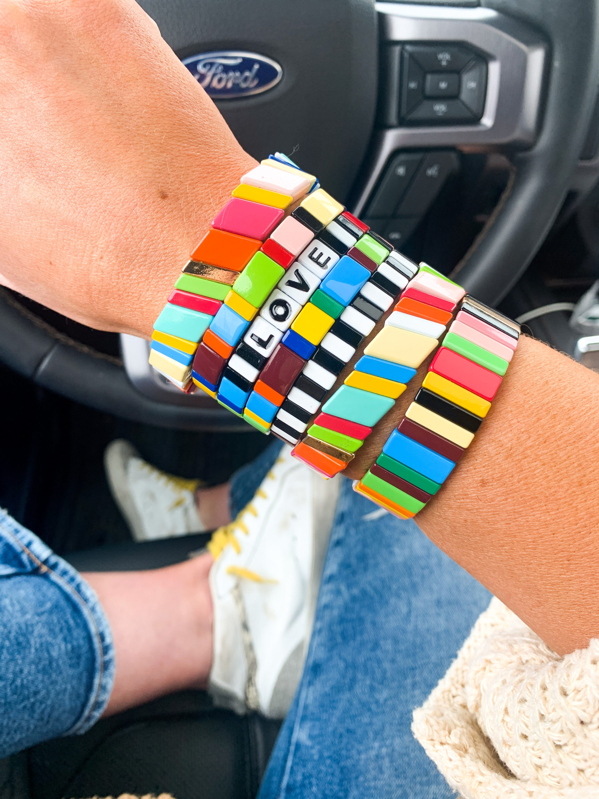 tile stack bracelets, bright bracelets, amazon prime, amazon fashion haul, style your senses, mallory fitzsimmons