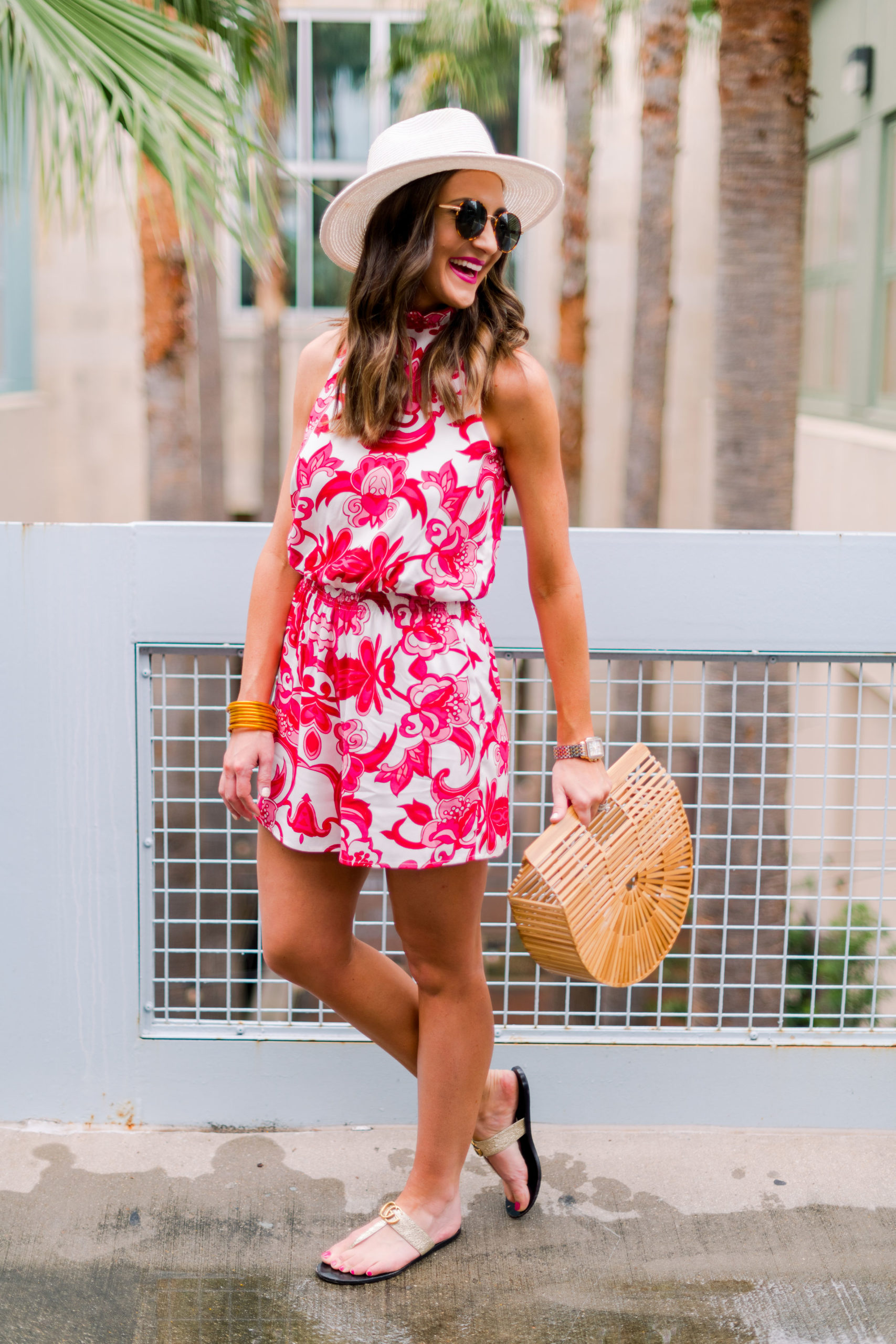 colorful romper styled casually, gibson, nordstrom, hi sugarplum, mallory fitzsimmons, resortwear, gucci sandals, panama hat, spring outfit