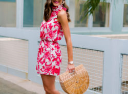 colorful romper dressed up, gibson, nordstrom, hi sugarplum, mallory fitzsimmons, resortwear, see by chloe wedges, spring outfit