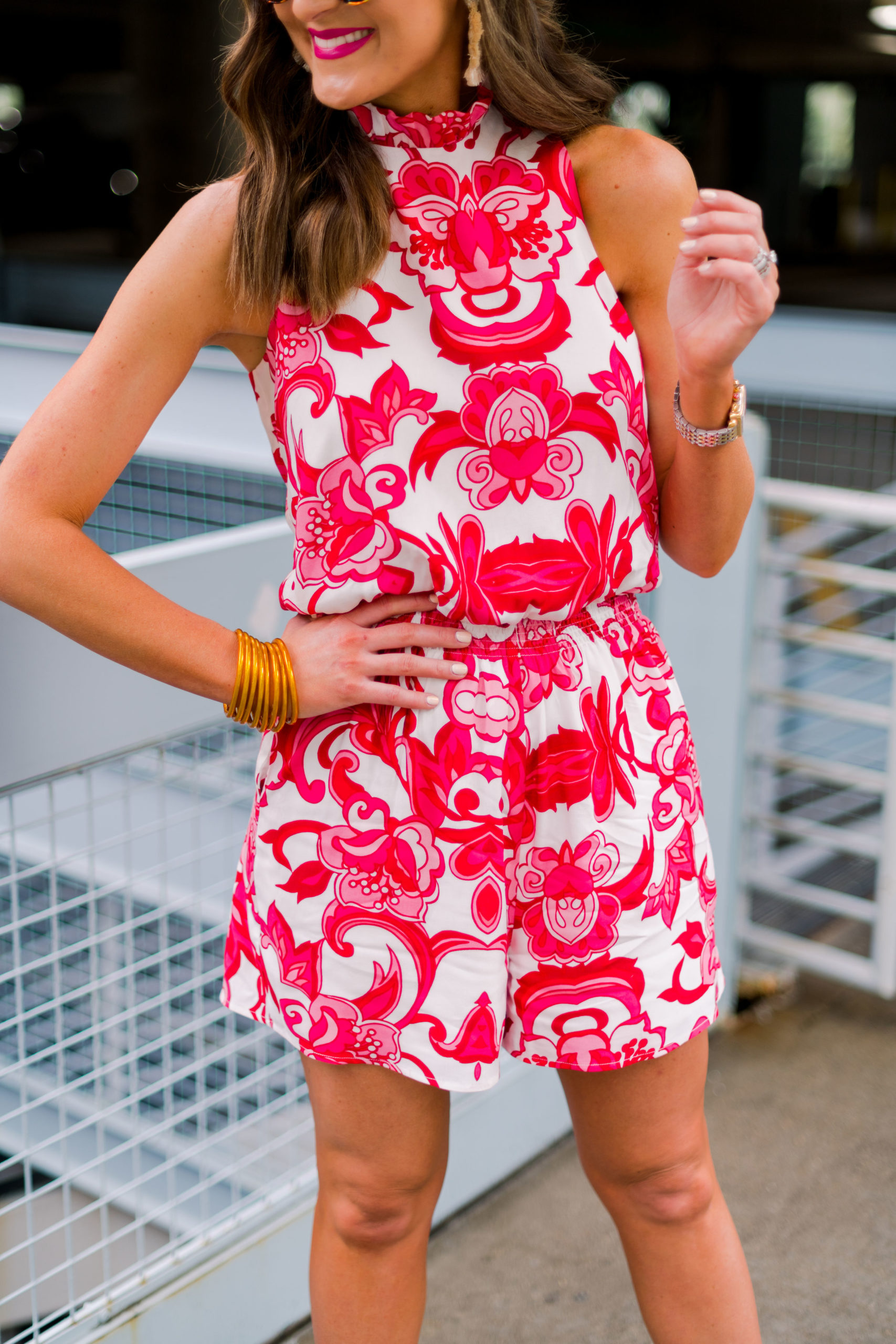 colorful romper dressed up, gibson, nordstrom, hi sugarplum, mallory fitzsimmons, resortwear, see by chloe wedges, panama hat, spring outfit