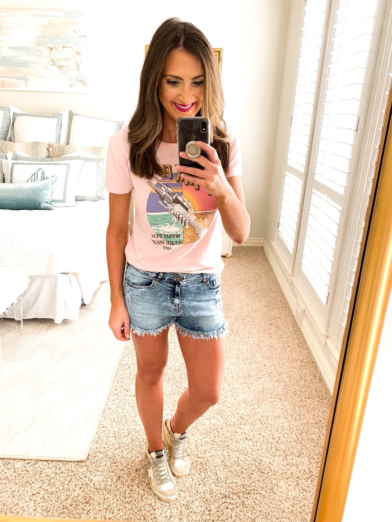 amazon fashion haul, graphic tee, band tee, style your senses, denim shorts, mom style idea