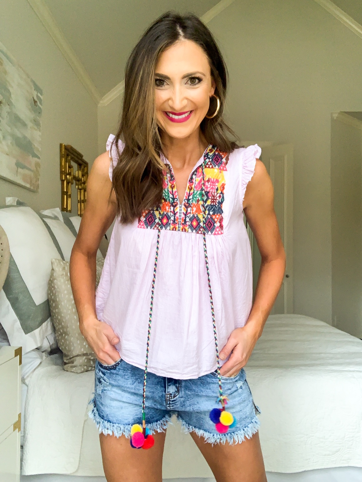 embroidered top, amazon fashion haul, style your senses, denim shorts, mom style idea