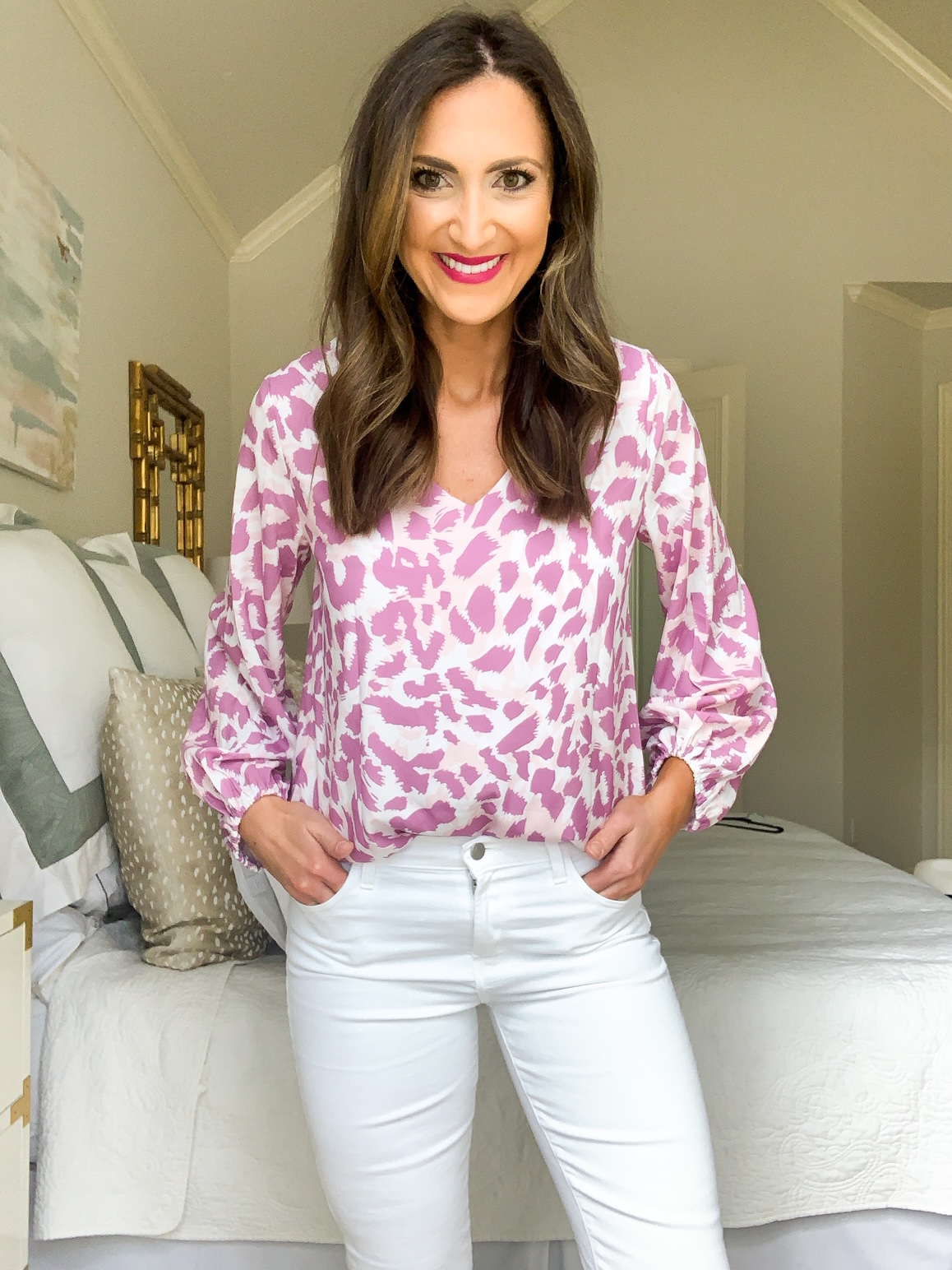 leopard blouse, amazon fashion haul, style your senses, denim shorts, mom style idea