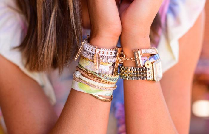 victoria emerson bracelet stack, tie dye, style your senses