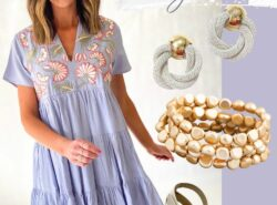 easter outfit, embroidered dress, espadrilles, gold bracelet, mom style, easter outfit for moms